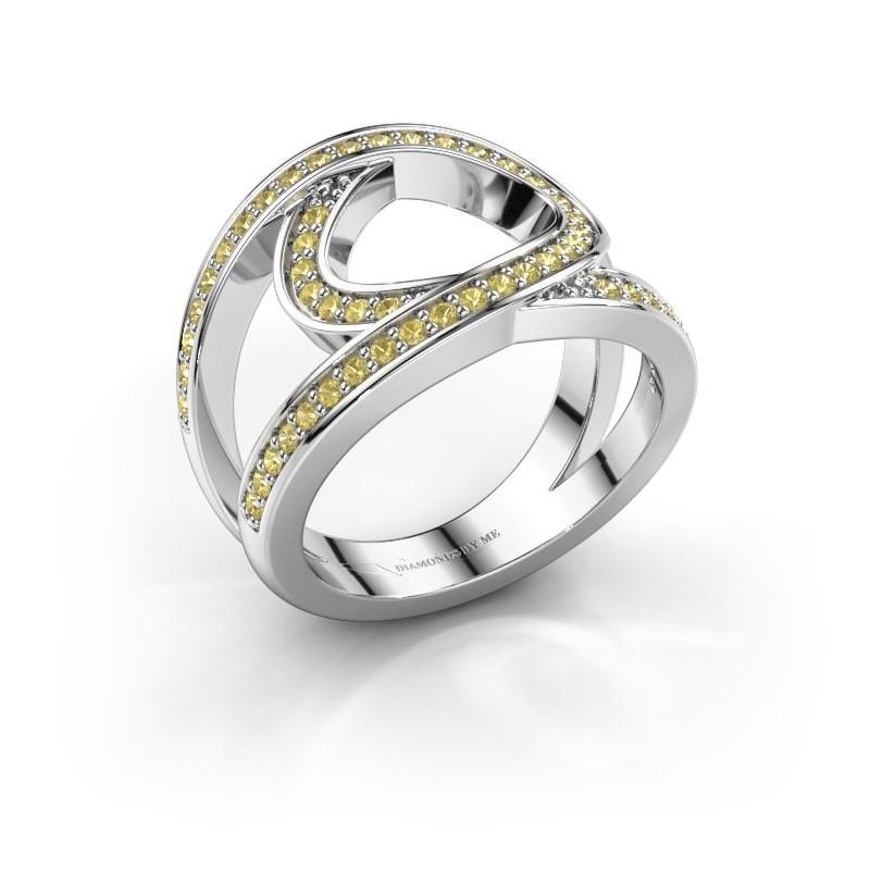 Ring Louise 950 platina gele saffier 1.2 mm