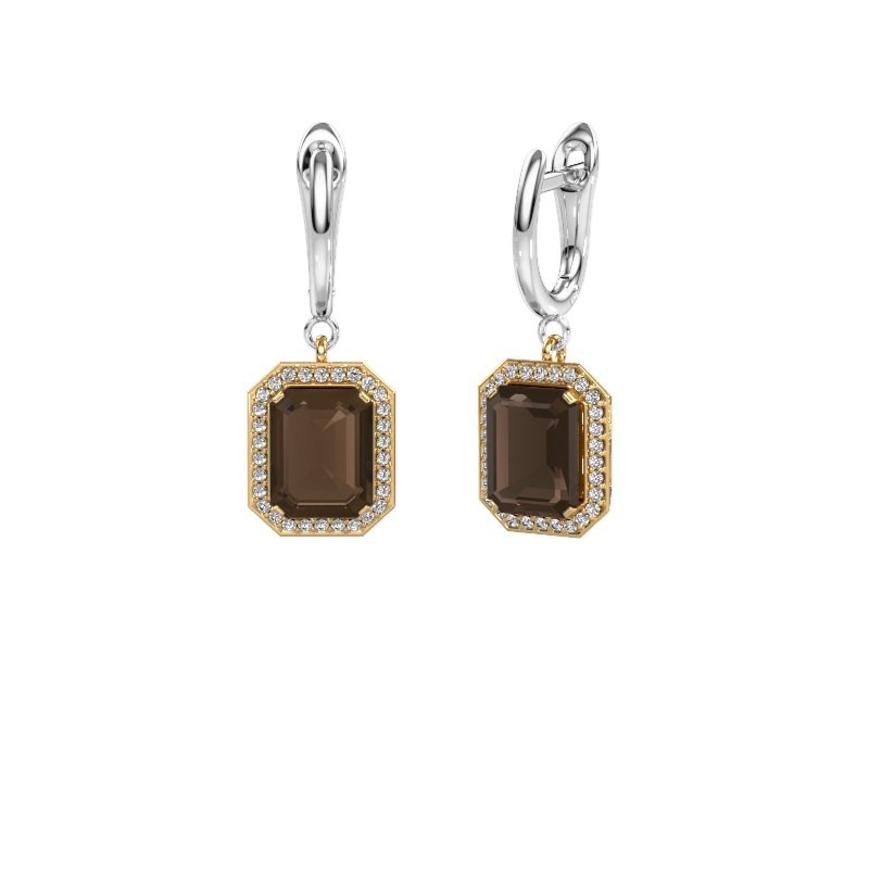 Drop earrings Dodie 1 585 gold smokey quartz 9x7 mm