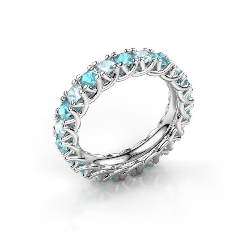 Ring Fenna 585 witgoud blauw topaas 3 mm