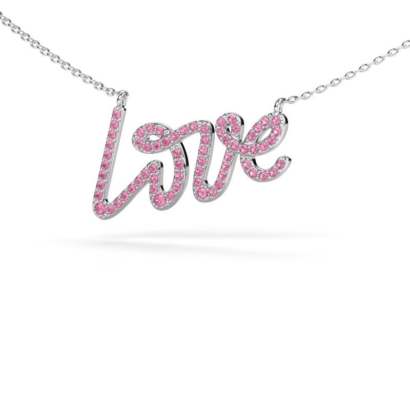 Pendant Love 925 silver pink sapphire 1 mm