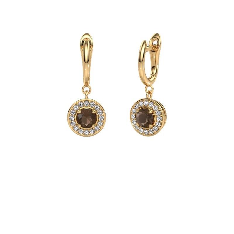 Drop earrings Ninette 1 585 gold smokey quartz 5 mm