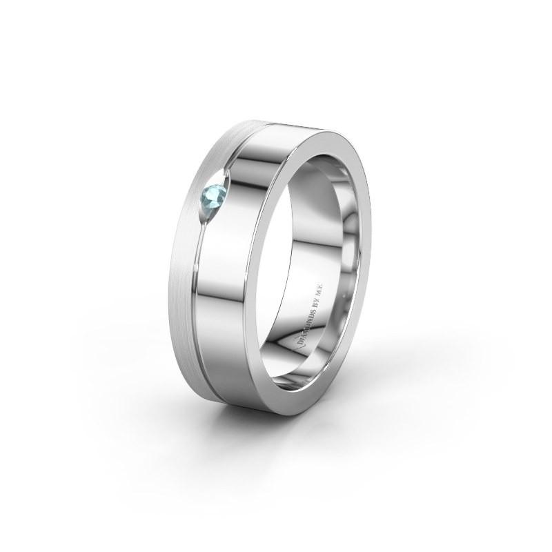 Wedding ring WH0329L16B 925 silver aquamarine ±0.24x0.08 in