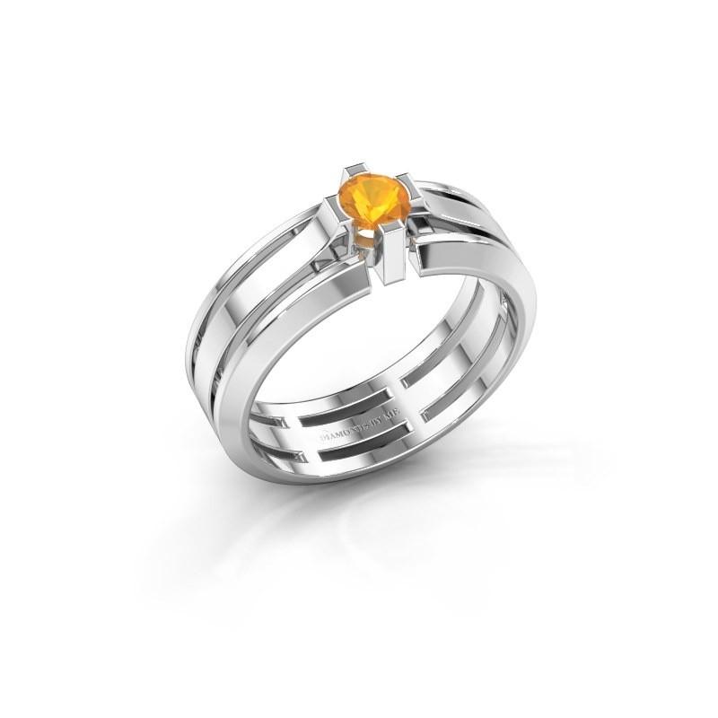 Heren ring Sem 950 platina citrien 4.7 mm