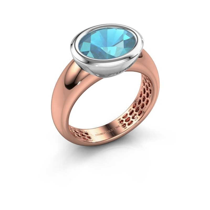 Ring Evelyne 585 rosé goud blauw topaas 10x8 mm