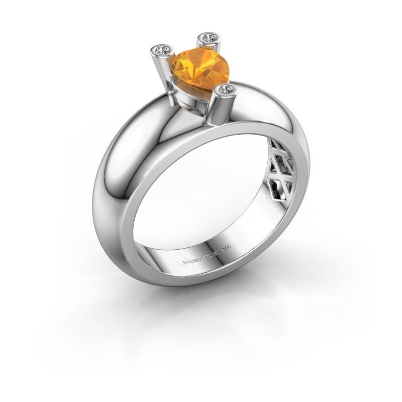 Ring Cornelia Pear 585 Weißgold Citrin 7x5 mm
