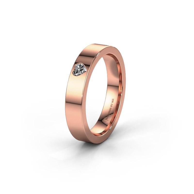 Trouwring WH0101L14BPHRT 375 rosé goud lab-grown diamant ±4x2 mm