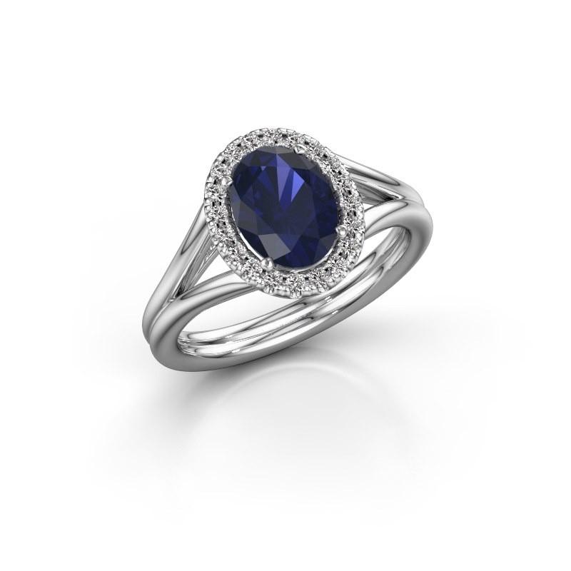 Engagement ring Rachele 1 950 platinum sapphire 8x6 mm