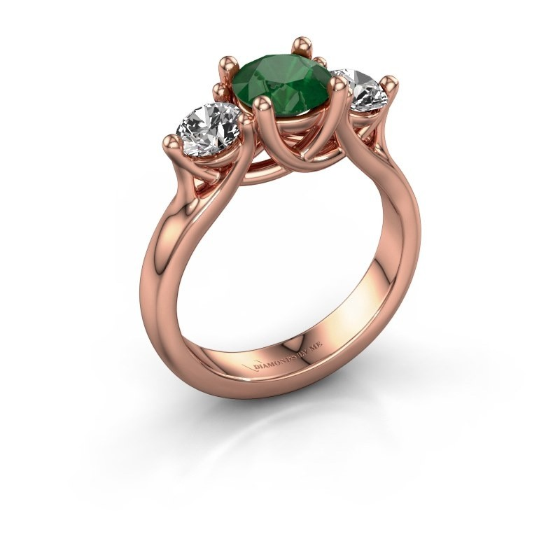 Engagement ring Esila 375 rose gold emerald 6.5 mm