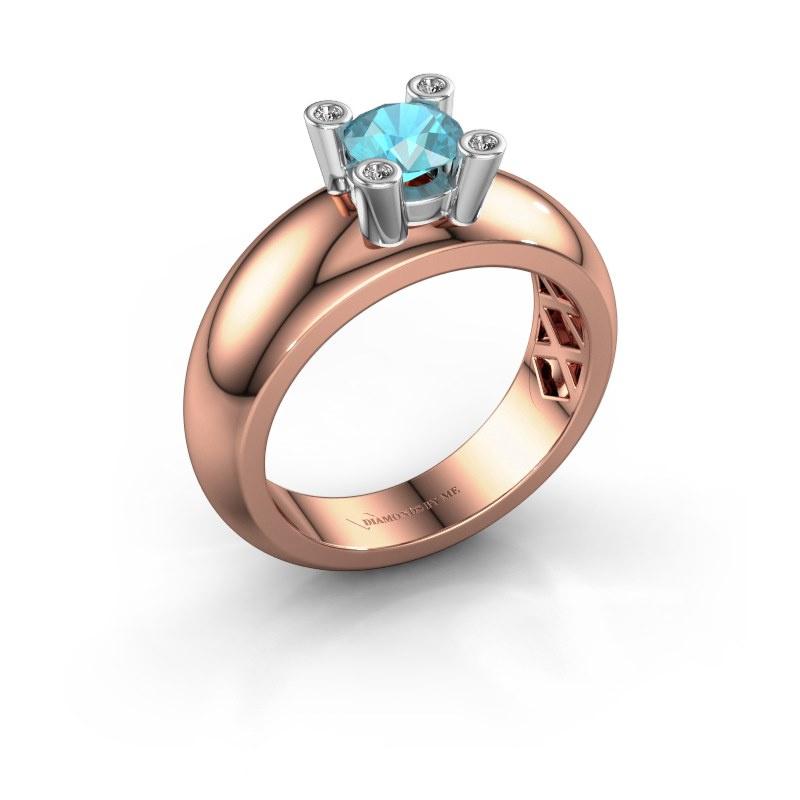 Ring Cornelia Round 585 Roségold Blau Topas 5 mm