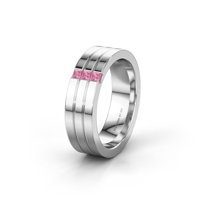 Wedding ring WH0428L16BP 585 white gold pink sapphire ±6x2 mm