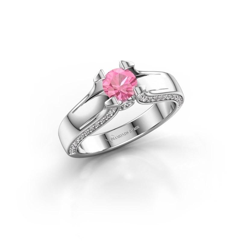 Verlovingsring Jeanne 1 585 witgoud roze saffier 5 mm