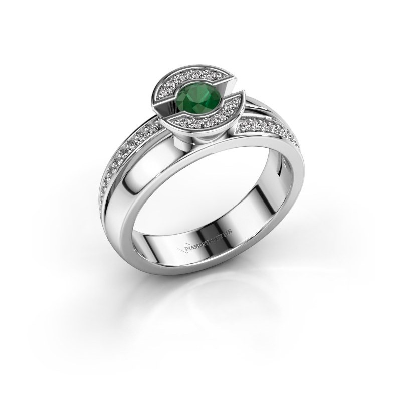 Ring Jeanet 2 925 silver emerald 4 mm