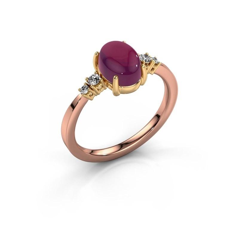 Ring Jelke 585 rosé goud rhodoliet 8x6 mm