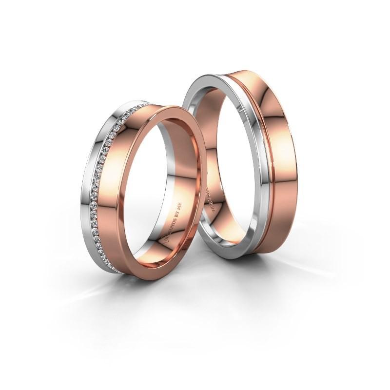 Trouwringen set WH6090LM55A ±5x1.7 mm 14 karaat rosé goud diamant 0.005 crt