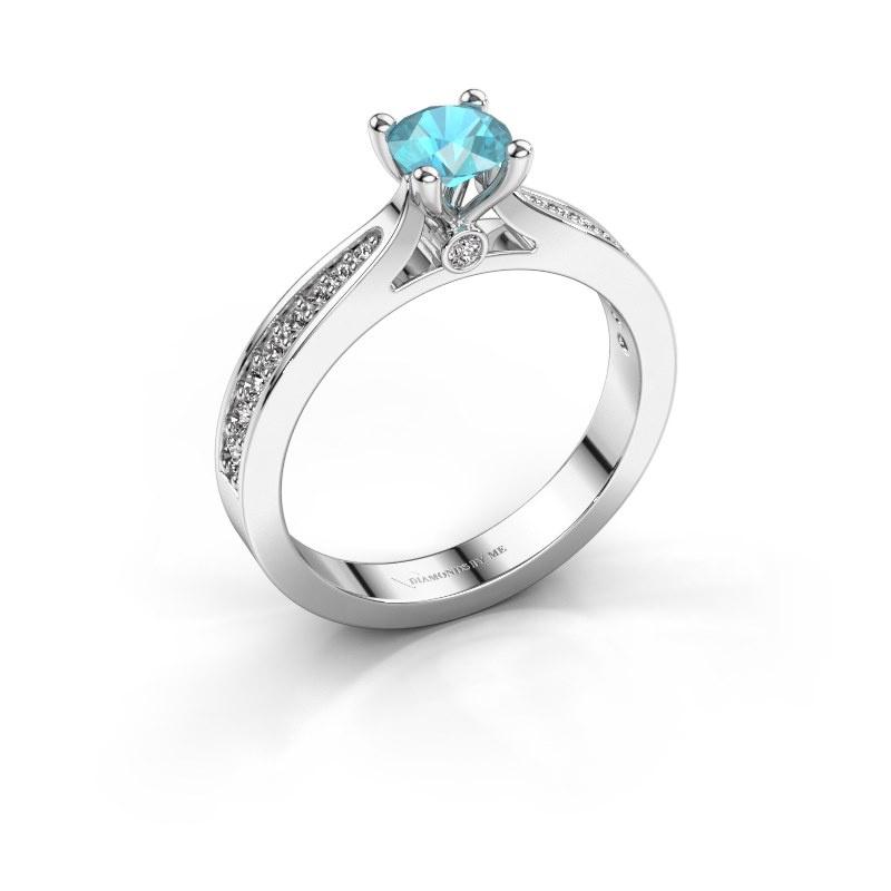 Verlovingsring Evelien 585 witgoud blauw topaas 5 mm