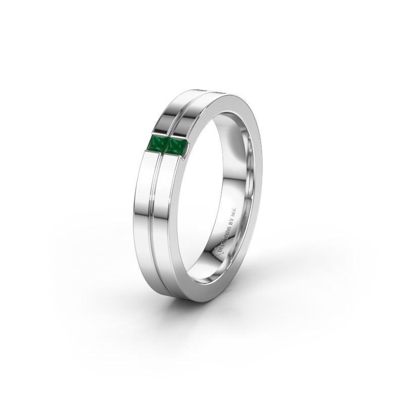 Wedding ring WH0225L14B 950 platinum emerald ±0.16x0.08 in
