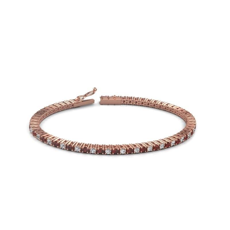 Tennis bracelet Karisma 375 rose gold garnet 2.4 mm