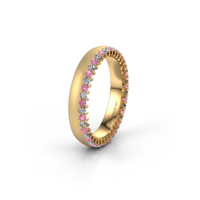 Wedding ring WH2138L24B 375 gold pink sapphire ±4x2 mm