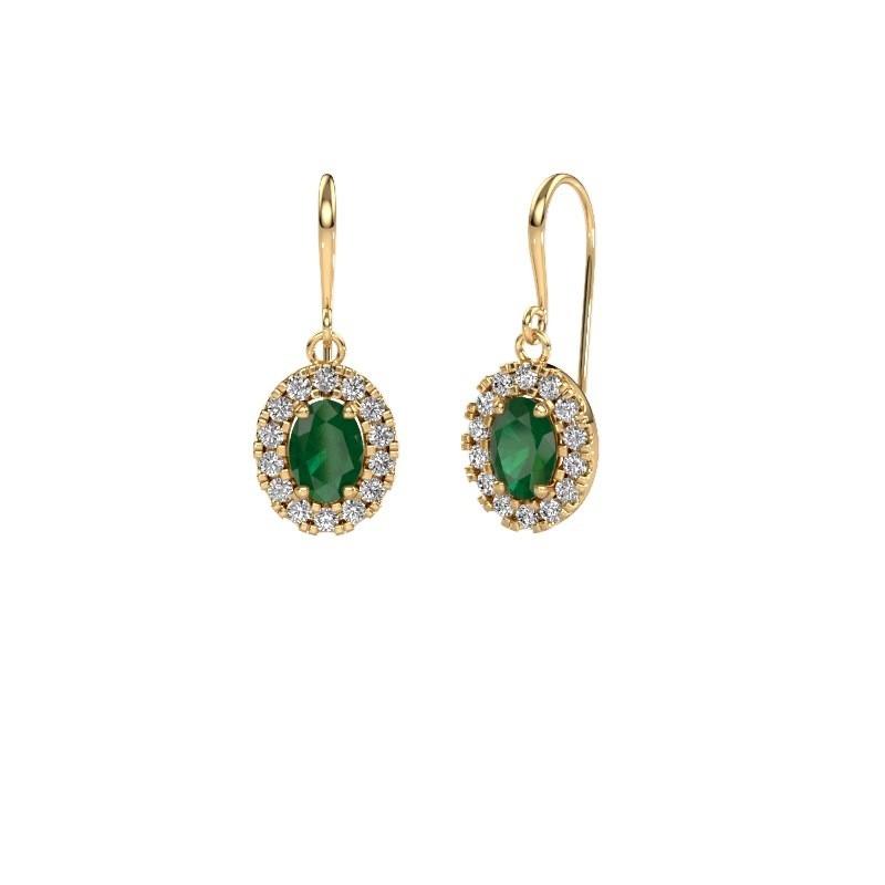 Drop earrings Jorinda 1 585 gold emerald 7x5 mm