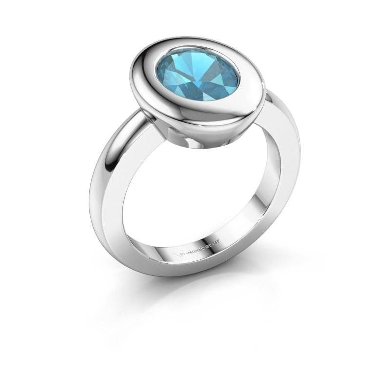 Ring Selene 1 925 zilver blauw topaas 9x7 mm