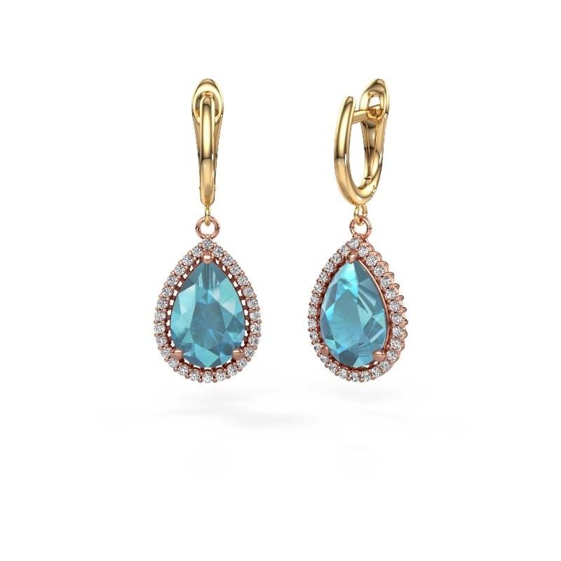 Drop earrings Hana 1 585 rose gold blue topaz 12x8 mm