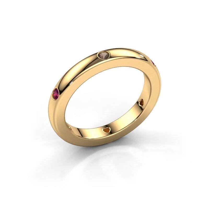 Stackable ring Charla 585 gold smokey quartz 2 mm