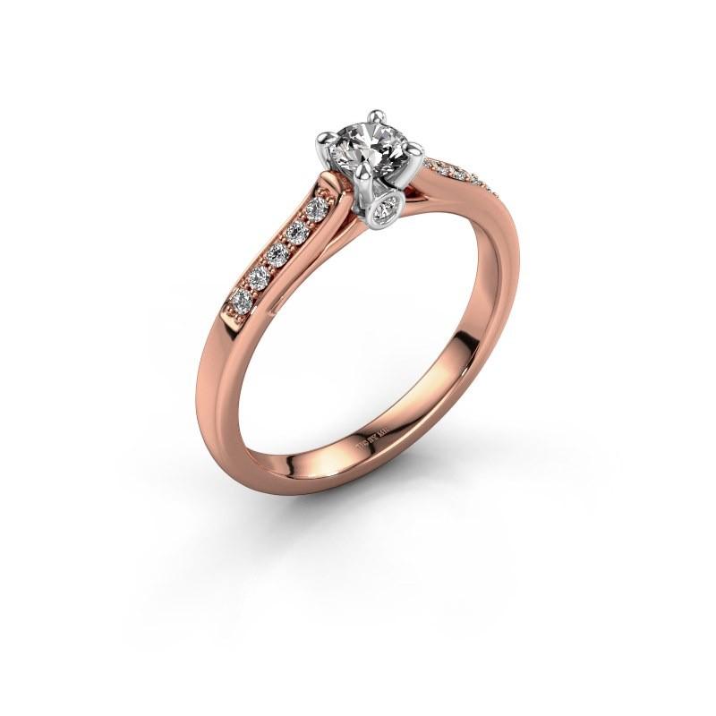 Verlovingsring Valorie 2 585 rosé goud diamant 0.25 crt