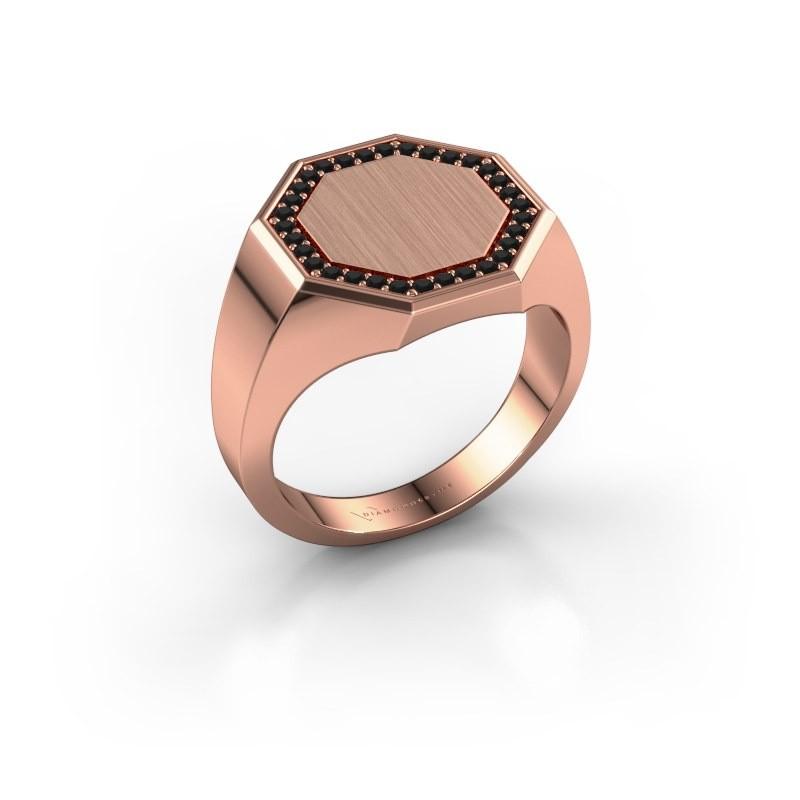 Heren ring Floris Octa 3 375 rosé goud zwarte diamant 0.288 crt
