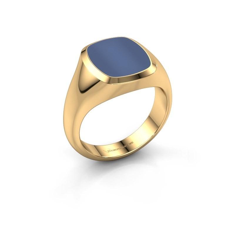 Zegelring Benjamin 2 585 goud blauw lagensteen 13x11 mm
