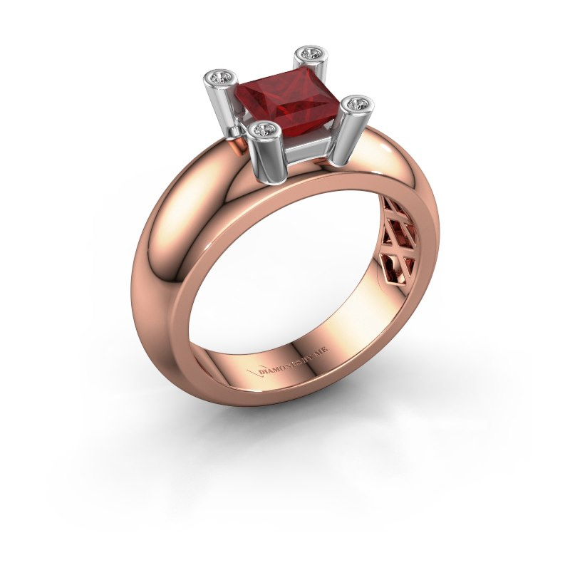Ring Cornelia Square 585 rose gold ruby 5 mm