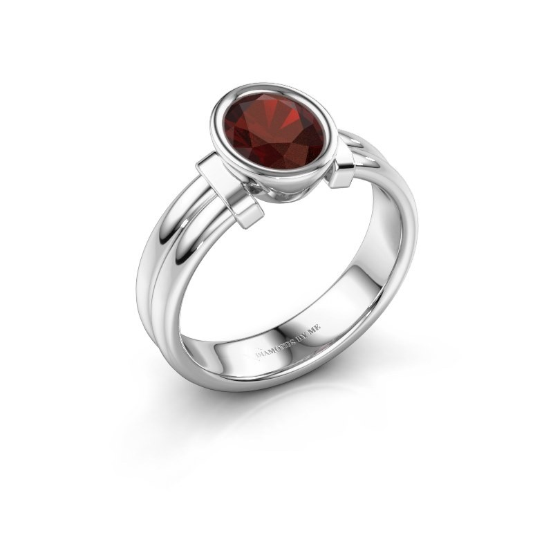 Ring Gerda 925 silver garnet 8x6 mm