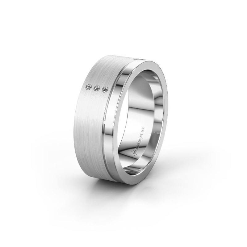 Trouwring WH0325L17APM 925 zilver lab-grown diamant ±7x1.7 mm