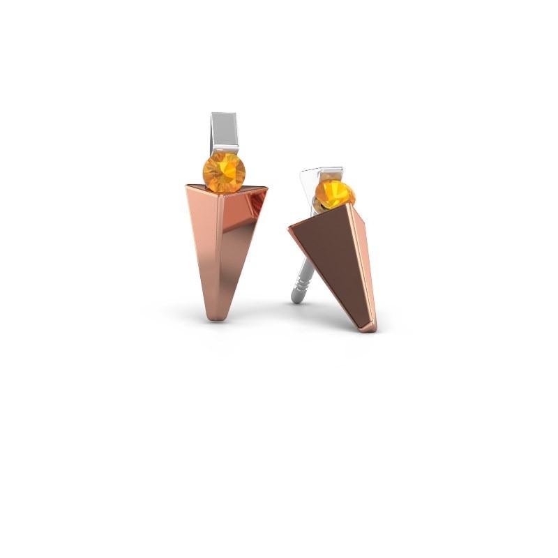 Oorbellen Corina 585 rosé goud citrien 3 mm