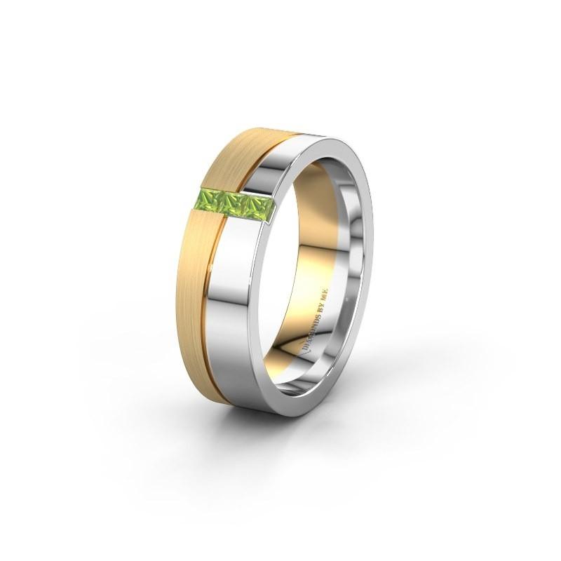 Wedding ring WH0906L16A 585 white gold peridot ±6x1.7 mm