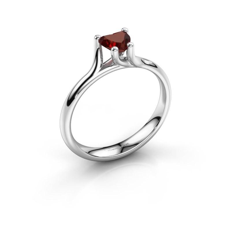 Verlobungsring Dewi Heart 585 Weißgold Granat 5 mm