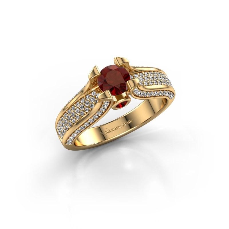Verlovingsring Jeanne 2 375 goud granaat 5 mm