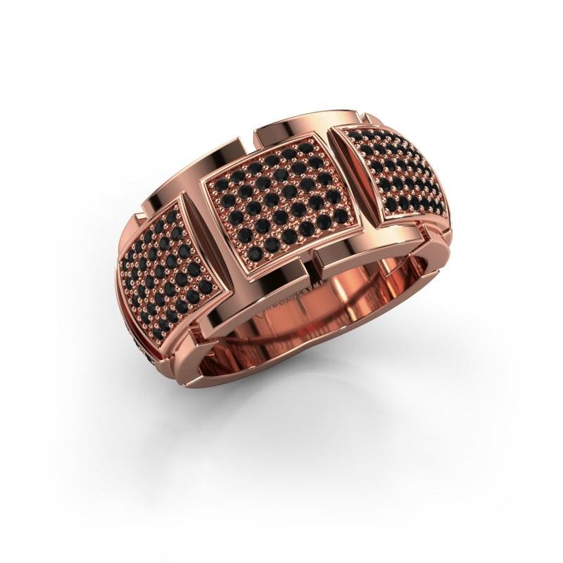 Ring Laura 375 rosé goud zwarte diamant 0.90 crt