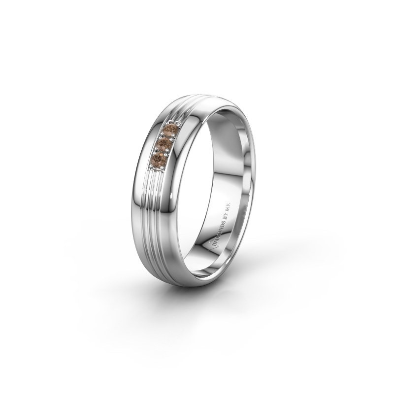 Trouwring WH0405L35X 585 witgoud bruine diamant ±5x1.5 mm