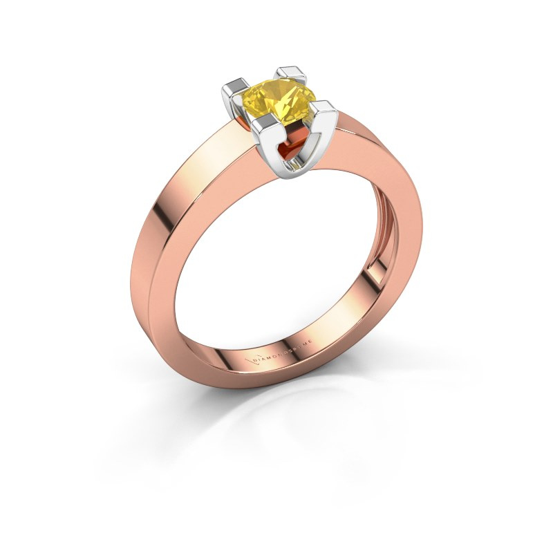 Promise ring Anne 1 585 rosé goud gele saffier 4.7 mm