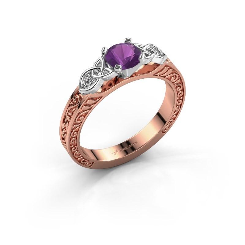 Verlovingsring Gillian 585 rosé goud amethist 5 mm