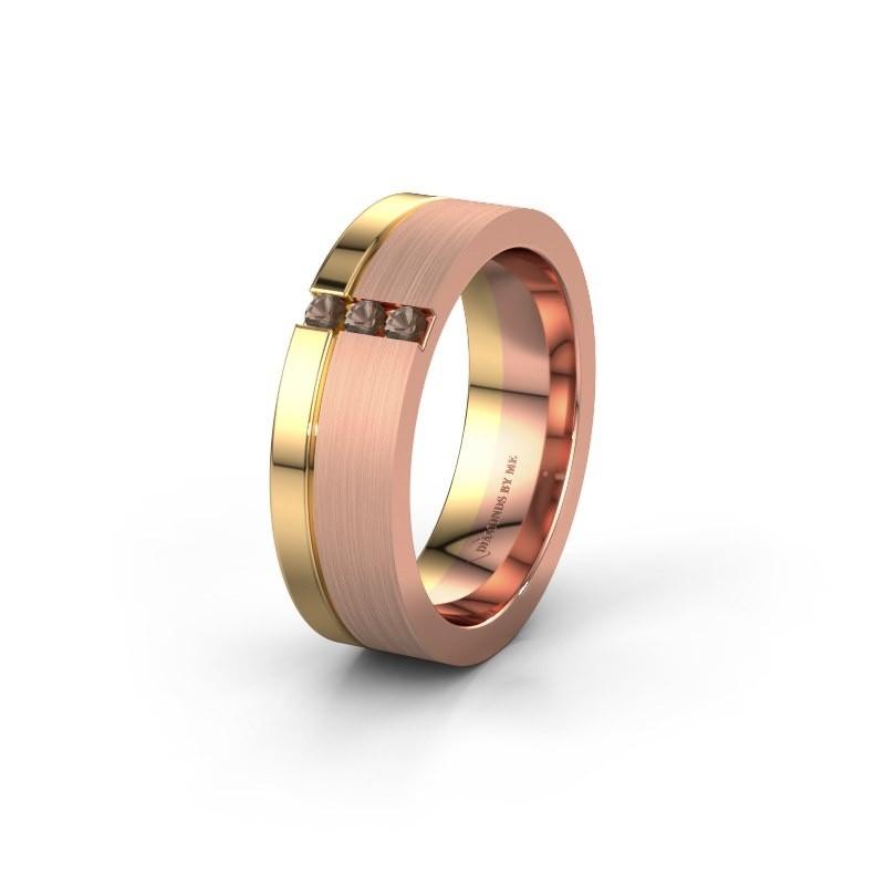 Trouwring WH0327L16B 585 rosé goud rookkwarts ±6x2 mm
