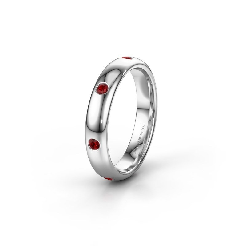 Wedding ring WH0105L34BP 925 silver ruby ±4x2 mm