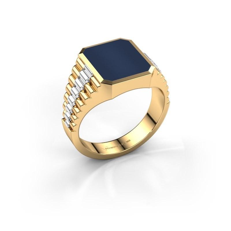 Zegelring Brent 2 585 goud donker blauw lagensteen 12x10 mm