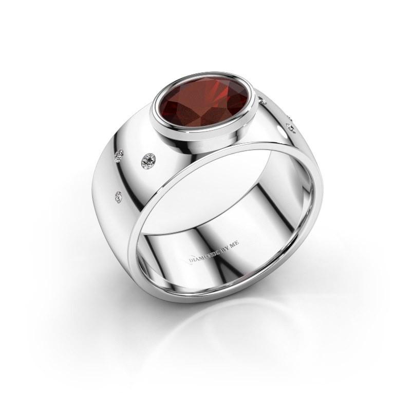 Ring Wilma 2 925 zilver granaat 8x6 mm