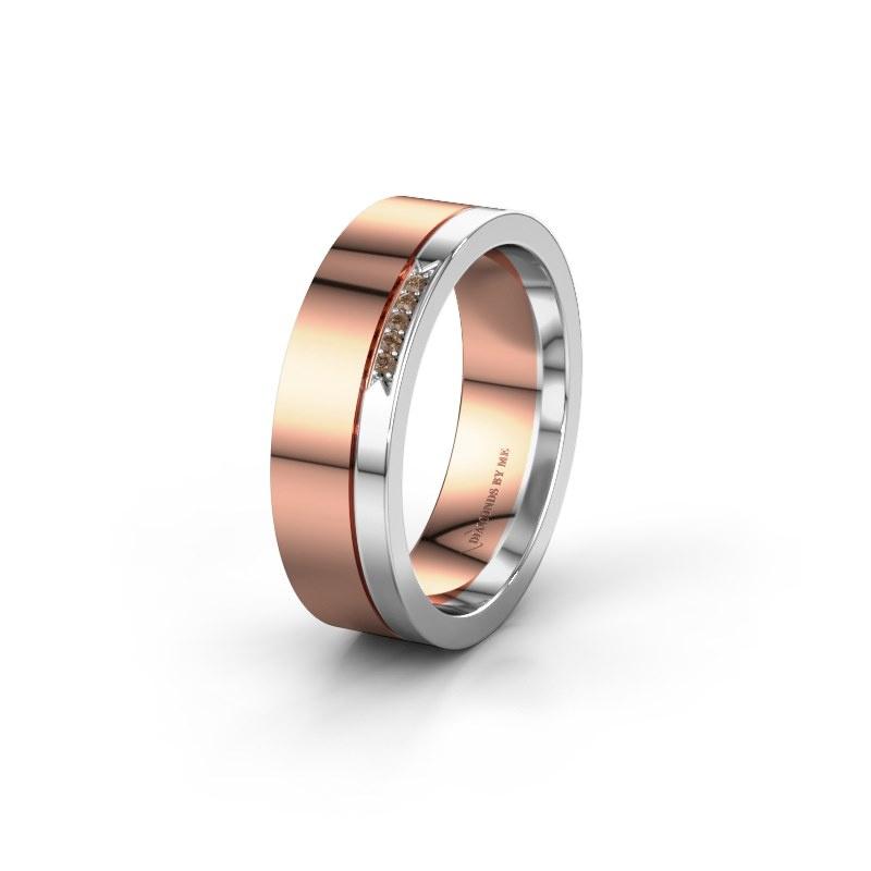Huwelijksring WH0336L16A 585 rosé goud bruine diamant ±6x1.7 mm