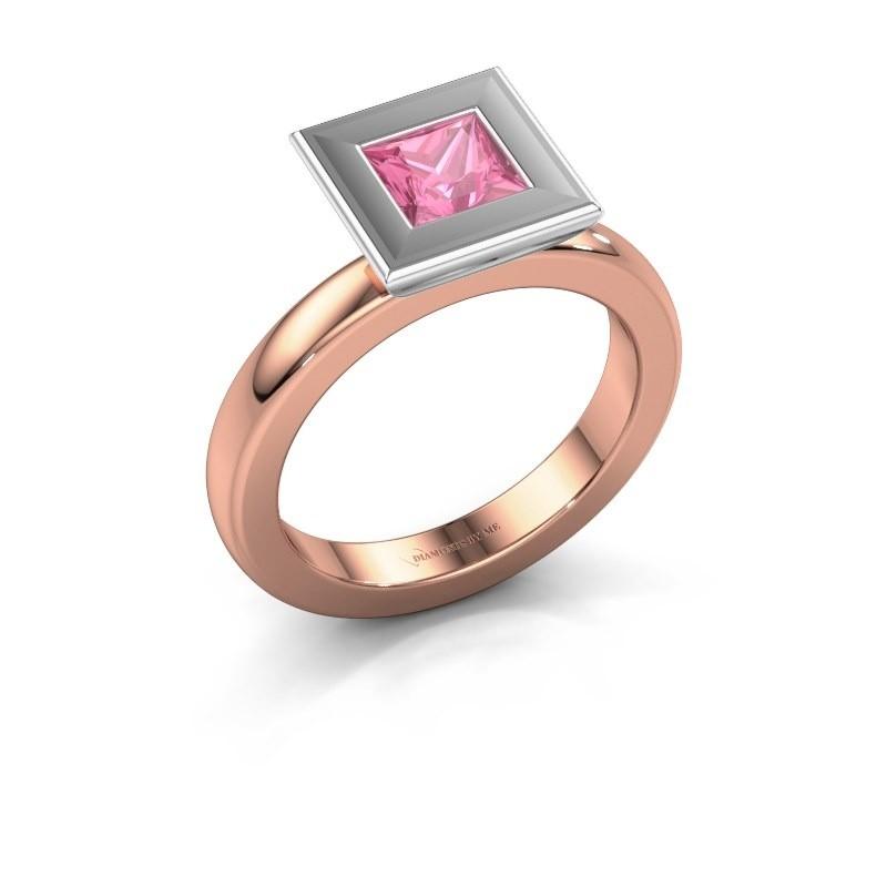 Stapelring Eloise Square 585 rosé goud roze saffier 5 mm