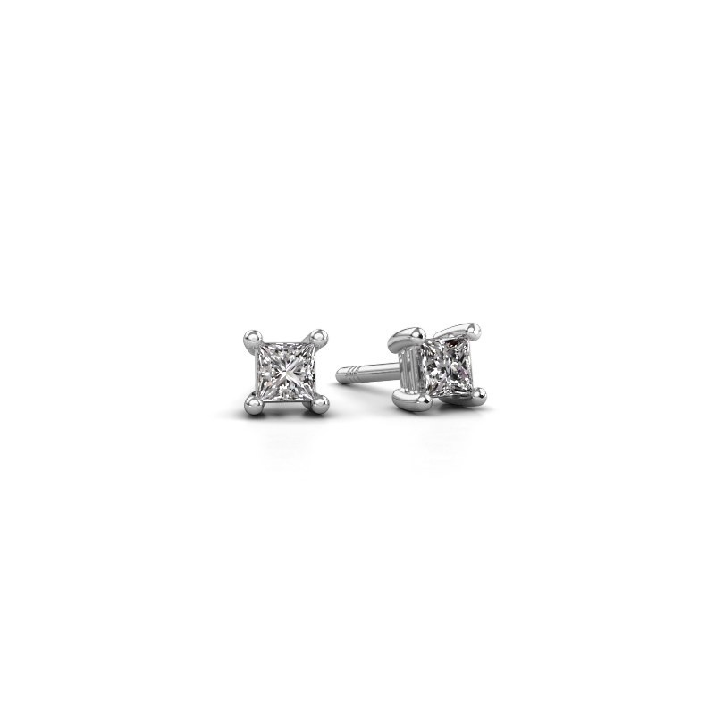 Oorstekers Sam square 585 witgoud diamant 0.40 crt