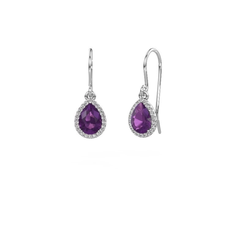 Drop earrings Seline per 950 platinum amethyst 7x5 mm