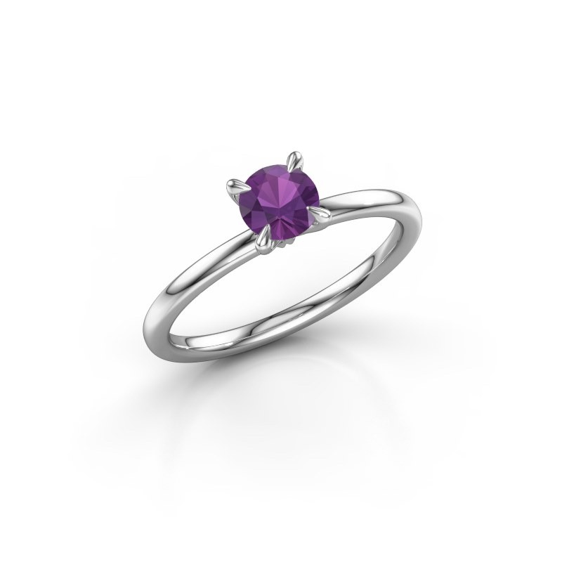Verlovingsring Crystal RND 1 950 platina amethist 5 mm