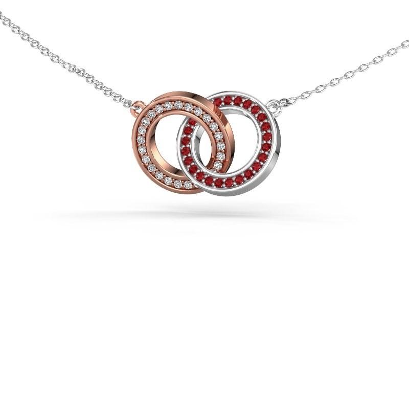 Halsketting Circles 2 585 rosé goud robijn 1 mm